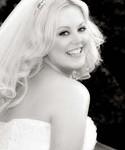 B and W photo of happy Las Vegas bride