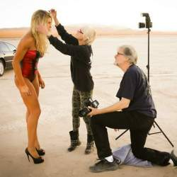 Hair and Makeup Artist at dry lake bed.